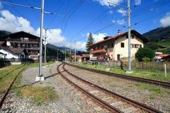 Zwitserse Spoorweg in de Bergen royalty-vrije stock foto's