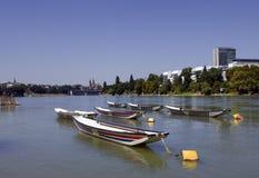 Zwitserse stad Bazel in de zomer Stock Foto's