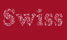 Zwitserse tekst in rood met de pictogrammen van Zwitserland op rode achtergrond Royalty-vrije Stock Fotografie