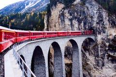 Zwitserse trein die een tunnel ingaan Stock Afbeeldingen