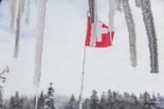 Zwitserse Vlag die achter Chaletstalactieten drijven in de Winter stock foto