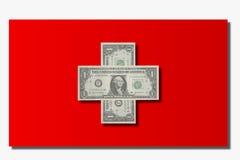Zwitserse vlag en dollars Stock Afbeelding