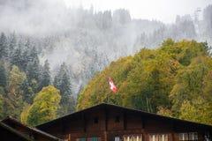 Zwitserse vlag op houten huis royalty-vrije stock foto