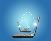 Związani laptopy na błękicie Zdjęcie Stock