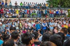 Zwolennicy Dr KC Protestacyjny wiec organizujący w Kathmandu w sup obraz royalty free