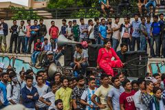 Zwolennicy Dr KC Protestacyjny wiec organizujący w Kathmandu w sup obraz stock