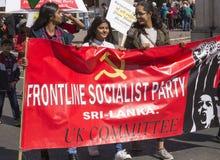 Zwolennicy linii frontu partia socjalistyczna Sri Lanka przy Maja dnia wiecem Zdjęcia Royalty Free
