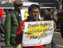 Zwolennik linii frontu partia socjalistyczna Sri Lanka przy Maja dnia wiecem Obraz Royalty Free