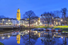 Zwolle in the evening, Netherlands. Zwolle in the evening with the church tower, called Peperbus (pepperbox), Overijssel, Netherlands Royalty Free Stock Photo