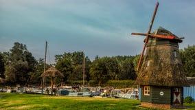 ZWOLLE, holandie - CZERWIEC 2018: Marina z pięknym wiatraczkiem w Zwolle blisko IJsselmeer, holandie zdjęcie stock