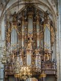 Schnitger organ in the Grote Kerk in Zwolle, Netherlands. Zwolle Netherlands - May 18, 2018: The Schnitger organ in the Grote of Sint-Michaelskerk is one of the stock photography