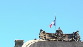 Zwolnione tempo francuz flagi falowanie w wiatrze na flagpole przy Francja miastem