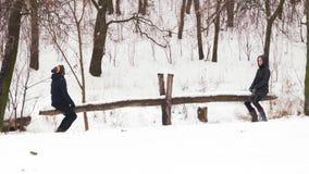 Zwolnione tempo, Indiański mężczyzna i kobieta, jedziemy na drewnianej huśtawce w zima lesie zbiory