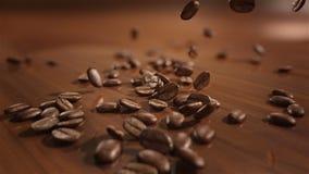 Zwolnione tempo kawowych fasoli spadać zdjęcie wideo