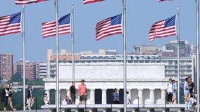 Zwolnione Tempo Strzelający Lincoln turyści i pomnik zbiory wideo