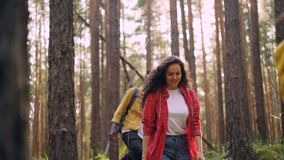 Zwolnione tempo uśmiechnięci mężczyzna i kobiety multiracial grupa wycieczkuje w lasowym odprowadzeniu z plecakami i patrzeje wok zbiory