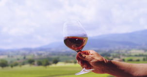 Zwolnione tempo w średnim wieku sommelier mieszanka, kontrola i kolor czerwone wino nalewał wewnątrz przejrzystego szkło na sceni zbiory