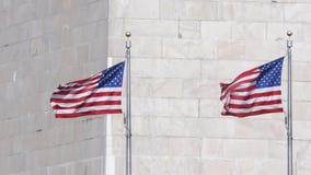 Zwolnione tempo zamknięty up strzelał flaga amerykańskie przy bazą Waszyngtoński zabytek zbiory wideo