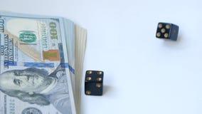 Zwolnionego tempa dwa czarne kostki do gry, bzdury, rzucać na białym tle, blisko paczki dolary, Poj?cie uprawia? hazard zdjęcie wideo