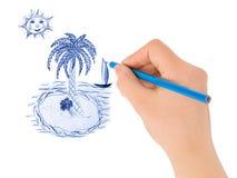 zwracając ręce tropikalna wyspa Zdjęcia Royalty Free