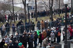 Zwrot pożegnalna ceremonia z politykami Boris Nemtsov Obrazy Stock
