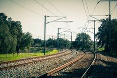 Zwrot Wiejska linia kolejowa w Portugalia Zdjęcia Royalty Free