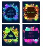 Zwrotnik ulotki projekta szablon Tropikalni liście z neonowy jarzyć się Reklama, tło Noc klub, dyskoteka, partyjny sztandar royalty ilustracja