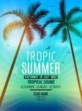 Zwrotnika lata plaży przyjęcie Zwrotnik podróż i wakacje Tropikalna plakatowa kolorowa tła i palmy egzota wyspa Fotografia Royalty Free