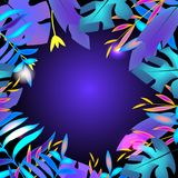 Zwrotnika sztandaru projekta szablon Tropikalni liście, błękitny neonowy jarzyć się Reklama, tło z pustą przestrzenią royalty ilustracja