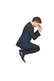 zwycięski doskakiwanie biznesowy mężczyzna Zdjęcie Stock