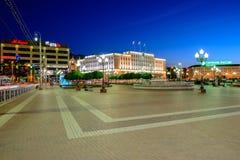 Zwycięstwa (Pobedy) kwadrat w Kaliningrad Zdjęcie Royalty Free