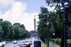 Zwycięstwa Siegessäule lub kolumna jesteśmy sławnym widokiem w Berlin Zdjęcie Stock