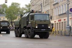 Zwycięstwo dnia świętowanie w Moskwa Militarne maszyny zdjęcie royalty free