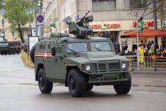 Zwycięstwo dnia świętowanie w Moskwa Militarne maszyny obrazy royalty free