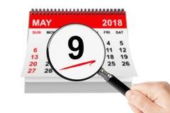 Zwycięstwo dnia pojęcie 9 mogą 2018 kalendarz z magnifier ilustracja wektor