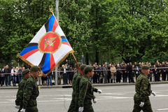 Zwycięstwo parada w Donetsk Militarna parada dedykująca 70th Fotografia Royalty Free