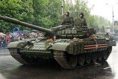 Zwycięstwo parada w Donetsk Militarna parada dedykująca 70th Obraz Royalty Free