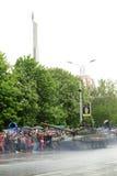 Zwycięstwo parada w Donetsk Militarna parada dedykująca 70th Zdjęcia Royalty Free