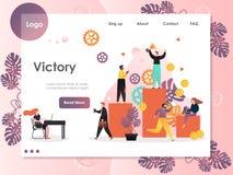 Zwycięstwo strony internetowej lądowania strony projekta wektorowy szablon royalty ilustracja
