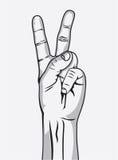 Zwycięstwo znak, ręka gest Zdjęcia Stock
