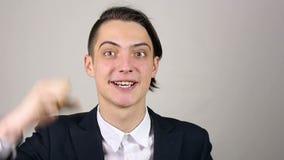 Zwycięzca, młody biznesmena podniecenie zdjęcie wideo