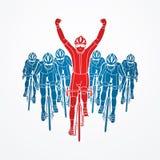 Zwycięzca z grupą jechać na rowerze royalty ilustracja