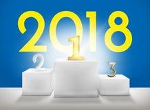 2018 zwycięzcy podium 1st 2nd 3rd 3D Odpłaca się Obraz Stock