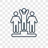 Zwycięzcy pojęcia wektorowa liniowa ikona odizolowywająca na przejrzystym backg ilustracja wektor