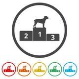 Zwycięzcy Psia rywalizacja przy podium ikoną, 6 kolorów Zawierać royalty ilustracja
