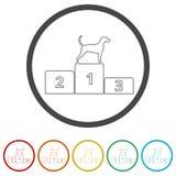Zwycięzcy Psia rywalizacja przy podium ikoną, 6 kolorów Zawierać ilustracji