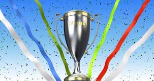 Zwycięzcy trofeum filiżanka z faborkami i confetti 3d ilustracja odpłaca się Obrazy Royalty Free