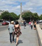 Zwycięstwo kolumna przy Chatelet kwadratem Zdjęcia Royalty Free