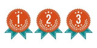 Zwycięzca etykietki Nagrodzony set Zdjęcie Stock