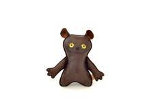 Zwyczaj handcrafted faszerujący skóry zabawki szczęśliwy mutt - przód Obrazy Royalty Free